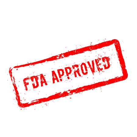 FDA Approved red stamp isolated on a white background.