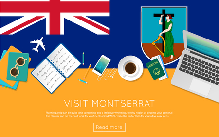 Visit Montserrat concept for your web banner or print materials. Top view of a laptop, sunglasses and coffee cup on Montserrat national flag. Flat style travel planning website header.