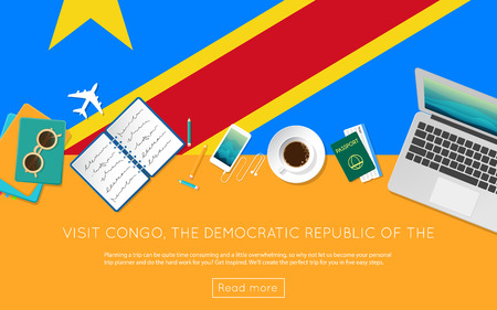 Visit Congo, The Democratic Republic Of The concept for your web banner or print materials. Top view of a laptop, sunglasses and coffee cup on Congo, The Democratic Republic Of The national flag.