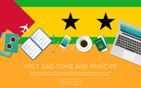Visit Sao Tome and Principe concept for your web banner or print materials. Top view of a laptop, sunglasses and coffee cup on Sao Tome and Principe national flag.