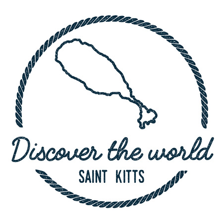Saint Kitts Map Outline. Vintage Discover the World Rubber Stamp with Island Map. Hipster Style Nautical Insignia, with Round Rope Border. Travel Vector Illustration. Illustration