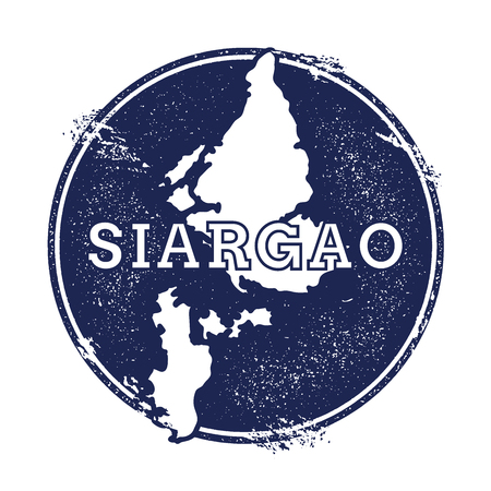 Siargao vector map. Grunge rubber stamp with the name and map of island, vector illustration. Can be used as insignia, logotype, label, sticker or badge.
