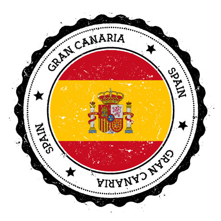 Gran Canaria flag badge. Vintage travel stamp with circular text, stars and island flag inside it. Vector illustration.