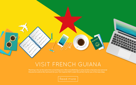 Visit French Guiana concept for your web banner or print materials. Top view of a laptop, sunglasses and coffee cup on French Guiana national flag. Flat style travel planninng website header. Illustration
