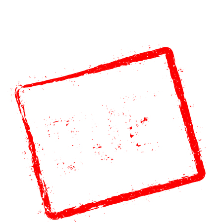 Due red rubber stamp isolated on white background. Grunge rectangular seal with text, ink texture and splatter and blots, vector illustration.