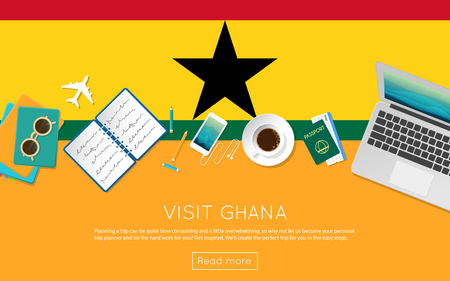 Visit Ghana concept for your web banner or print materials. Top view of a laptop, sunglasses and coffee cup on Ghana national flag. Flat style travel planninng website header.