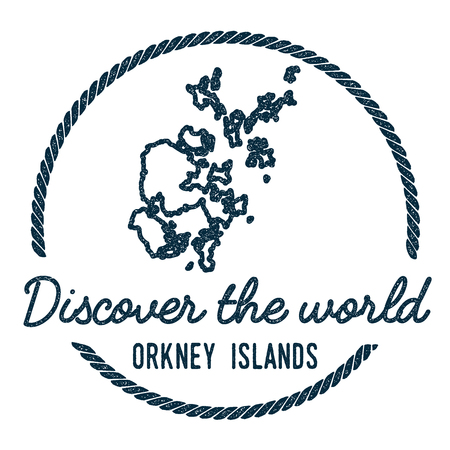 Orkney Islands Map Outline. Vintage Discover the World Rubber Stamp with Island Map. Hipster Style Nautical Insignia, with Round Rope Border. Travel Vector Illustration.