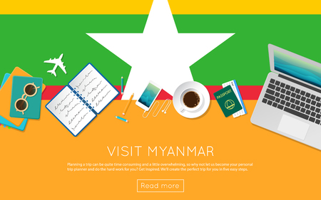 Visit Myanmar concept for your web banner or print materials. Top view of a laptop, sunglasses and coffee cup on Myanmar national flag. Flat style travel planninng website header.