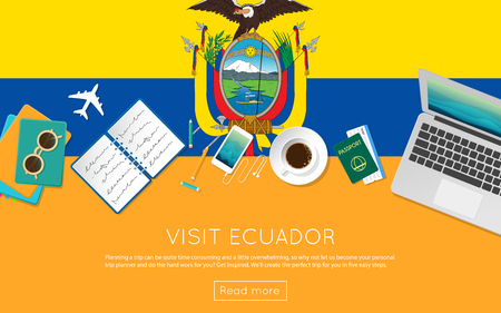 Visit Ecuador concept for your web banner or print materials. Top view of a laptop, sunglasses and coffee cup on Ecuador national flag. Flat style travel planning website header.