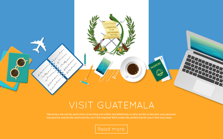 Visit Guatemala concept for your web banner or print materials. Top view of a laptop, sunglasses and coffee cup on Guatemala national flag. Flat style travel planning website header.
