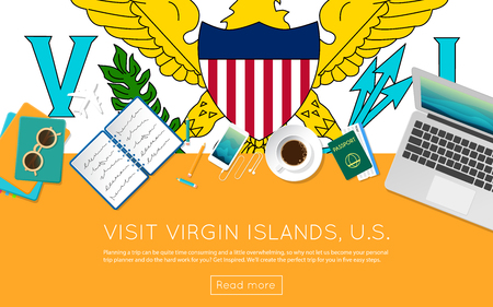 Visit Virgin Islands, U.S. concept for your web banner or print materials. Top view of a laptop, sunglasses and coffee cup on Virgin Islands, U.S. national flag.