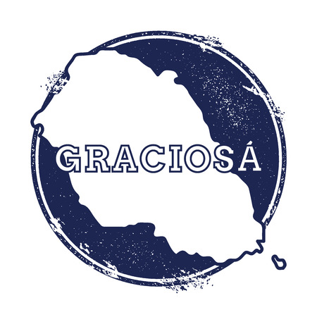 Graciosa vector map. Grunge rubber stamp with the name and map of island, vector illustration. Can be used as insignia, logotype, label, sticker or badge.