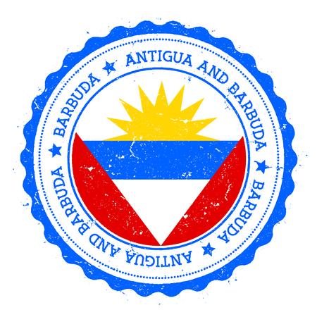 Barbuda flag badge. Vintage travel stamp with circular text, stars and island flag inside it. Vector illustration. Ilustração