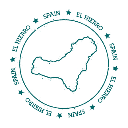 El Hierro vector map. Distressed travel stamp with text wrapped around a circle and stars. Island sticker vector illustration.