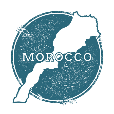Grunge rubber stamp with name and map of Morocco, vector illustration. Can be used as insignia, icon, label, sticker or badge of the country. Illustration