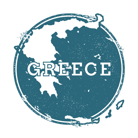 Grunge rubber stamp with name and map of Greece, vector illustration. Can be used as insignia, logotype, label, sticker or badge of the country.