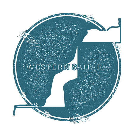 Grunge rubber stamp with name and map of Western Sahara, vector illustration. Can be used as insignia, icon, label, sticker or badge of the country.