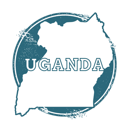 Grunge rubber stamp with name and map of Uganda, vector illustration. Can be used as insignia, logotype, label, sticker or badge of the country.