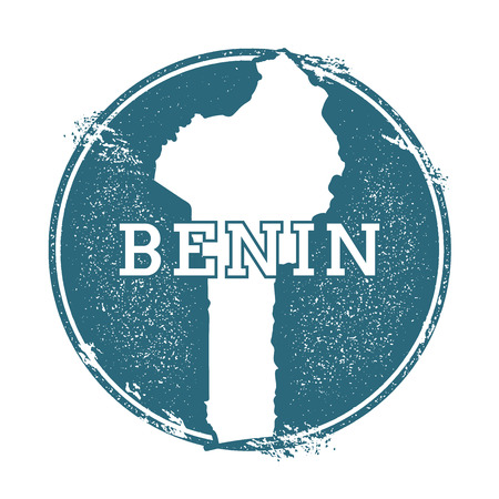 Grunge rubber stamp with name and map of Benin, vector illustration. Can be used as insignia, icon, label, sticker or badge of the country. 矢量图像