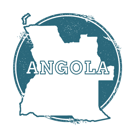 Grunge rubber stamp with name and map of Angola, vector illustration. Can be used as insignia, icon, label, sticker or badge of the country. Vettoriali