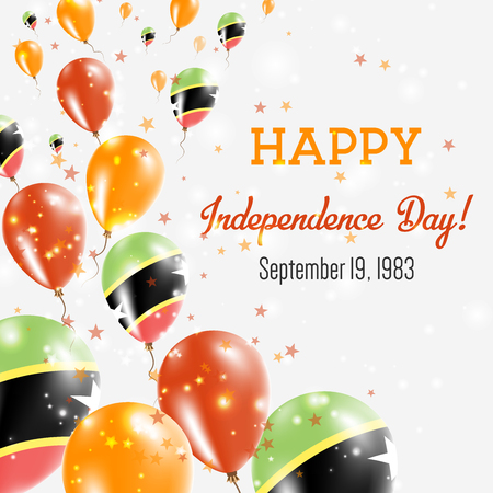 Saint Kitts and Nevis Independence Day Greeting Card with balloons.