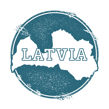 Grunge Latvia stamp with a map vector illustration. 일러스트