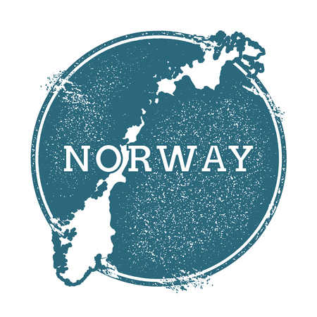 Grunge Norway stamp a map vector illustration.