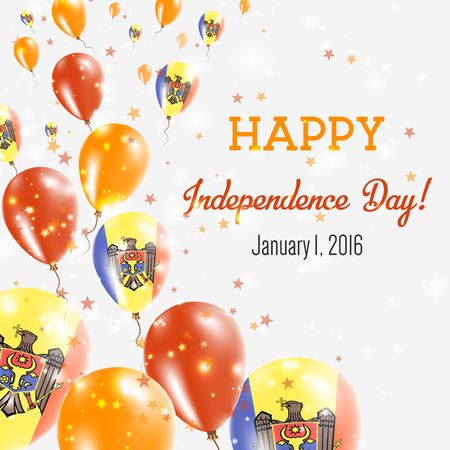 Moldova Independence Day Greeting Card with Flying Balloons in Moldova National Colors.
