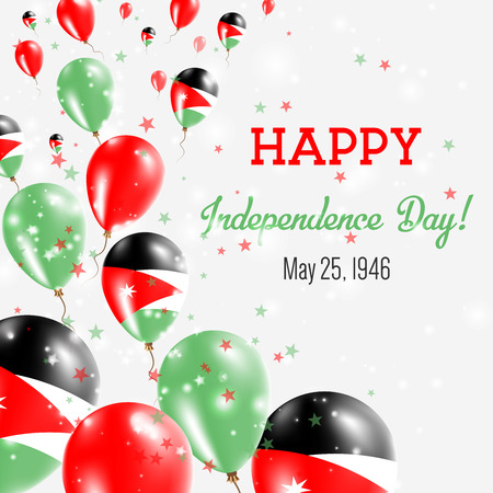 Jordan Independence Day Greeting Card with Flying Balloons in Jordan National Colors.
