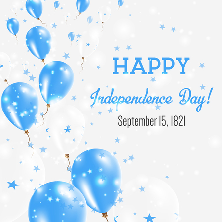 Honduras Independence Day Greeting Card with Flying Balloons in Honduras National Colors.