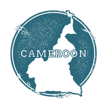 Grunge Cameroon stamp with a map vector illustration. Vettoriali