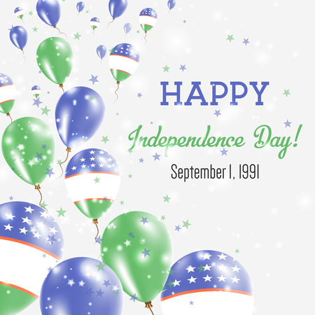 Uzbekistan Independence Day greeting card template illustration with flying balloons with Uzbekistan flag design.