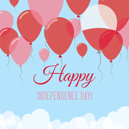 Poland Independence Day Flat Greeting Card. Flying Rubber Balloons in Colors of the Polish Flag. Happy National Day Vector Illustration. Ilustrace