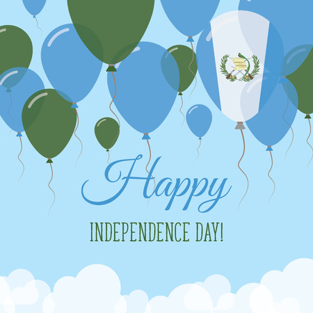 Guatemala Independence Day Flat Greeting Card. Flying Rubber Balloons in Colors of the Guatemalan Flag. Happy National Day Vector Illustration.