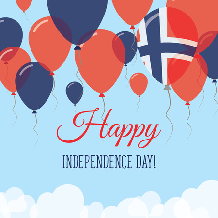 Norway Independence Day Flat Greeting Card. Flying Rubber Balloons in Colors of the Norwegian Flag. Happy National Day Vector Illustration.