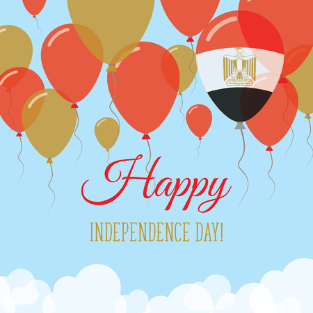 Egypt Independence Day Flat Greeting Card. Flying Rubber Balloons in Colors of the Egyptian Flag. Happy National Day Vector Illustration.