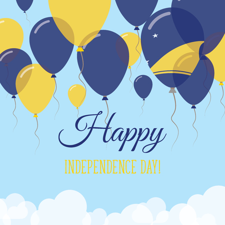Tokelau Independence Day Flat Greeting Card. Flying Rubber Balloons in Colors of the Tokelauan Flag. Happy National Day Vector Illustration. Illustration