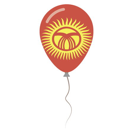 Kyrgyz Republic national colors isolated balloon on white background. Independence day patriotic poster. Flat style National day vector illustration.