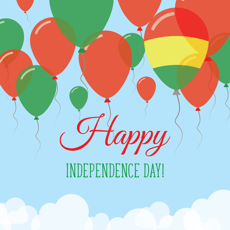 Bolivia Independence Day flat greeting card. Flying rubber balloons in colors of the Bolivian flag. Happy National Day vector illustration.