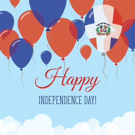 Dominican Republic Independence Day flat greeting card. Flying rubber balloons in colors of the Dominican flag. Happy National Day vector illustration. Vektoros illusztráció