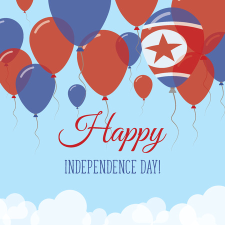 Korea, Democratic People's Republic Of Independence Day flat greeting card. Flying rubber balloons in colors of the North Korean flag. Happy National Day vector illustration. Vectores