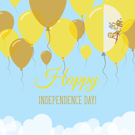 Holy See (Vatican City State) Independence Day flat greeting card. Flying rubber balloons in colors of the Italian flag. Happy National Day vector illustration. Illustration