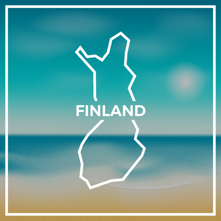 Finland map rough outline against the backdrop of beach and tropical sea with bright sun.