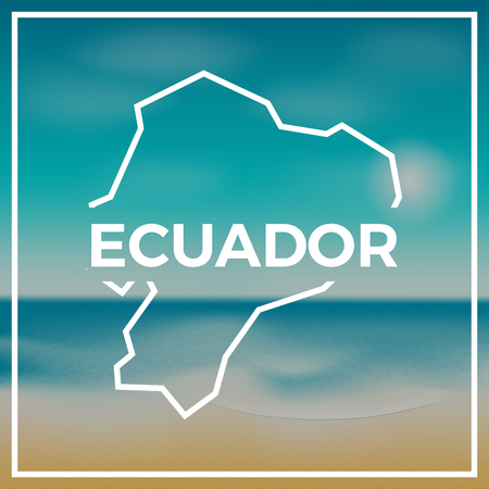 Ecuador map rough outline against the backdrop of beach and tropical sea with bright sun. Ilustracja