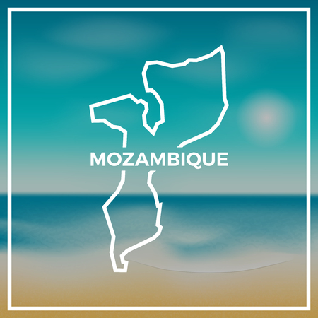 Mozambique map rough outline against the backdrop of beach and tropical sea with bright sun. Stock Illustratie