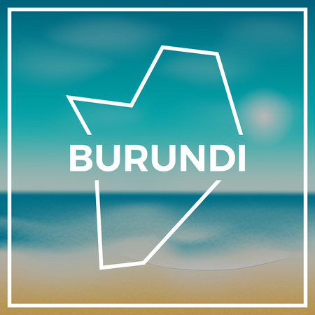 Burundi map rough outline against the backdrop of beach and tropical sea with bright sun. Illustration