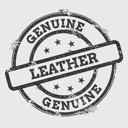 Genuine Leather rubber stamp isolated on white background. Grunge round seal with text, ink texture and splatter and blots, vector illustration.