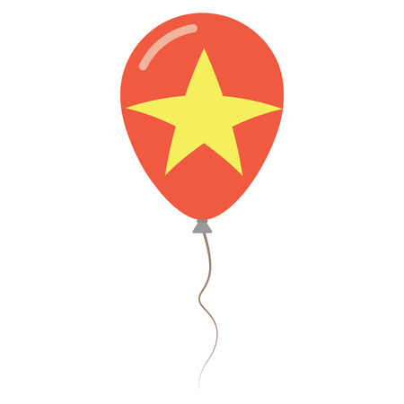 Socialist Republic of Vietnam national colors isolated balloon on white background. Independence day patriotic poster. Flat style National day vector illustration.