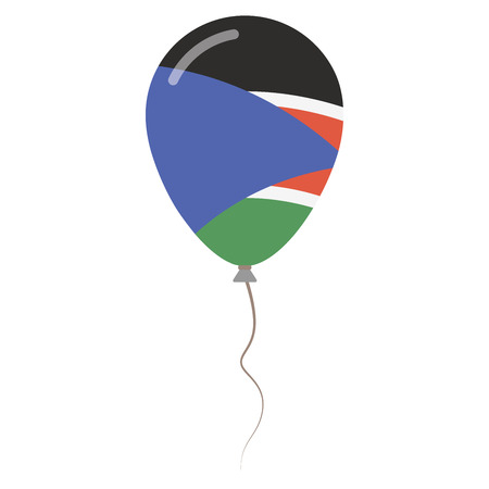 Republic of South Sudan national colors isolated balloon on white background. Independence day patriotic poster. Flat style National day vector illustration.