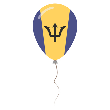Barbados national colors isolated balloon on white background. Independence day patriotic poster. Flat style National day vector illustration.